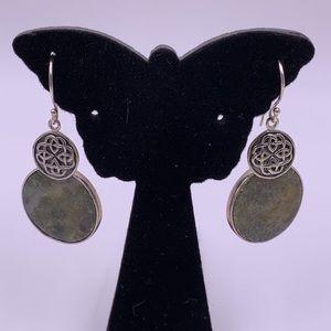 Genuine gemstone, sterling silver earrings
